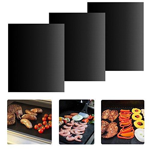 Grillmatte 3er Set, Grill Mat Non-Stick BBQ Grillmatte, LFGB und FDA Zulassung, aus Silikon mit Teflon Antihaftbeschichtung für bis 300°C, Durable Grills Perfekt für Gas, Kohle, Ofen, Elektrogrill, F (Kohle-gewebe Freien Im)