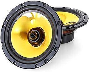 auna Goldblaster 6.5 • 3-Wege-Koaxial-Boxen • Auto Einbau-Lautsprecher Paar • 600 Watt max. • 2x16,5cm-Boxen • schwarz-gold