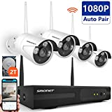 [Full HD]Smonet 4 Channel Wireless Security Camera System (cctv kits) with 4pcs 1080P Wireless CCTV Camera System,65ft Night Vision, Plug&Play,2TB HHD Pre-installed