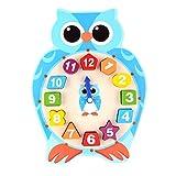 Baoblaze Karikatur Hölzernes Uhr Puzzle Form Sortierung Sorter Intelligentes Spielzeug für 2 Jahre alt, um Zahlen, Farben und Geometrieformen zu Lernen - Eule