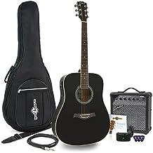 Guitarra Electroacústica Dreadnought + Pack Ampli 15W Negro