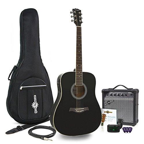 Dreadnought Elektro-Akustik-Gitarre + 15W Amp Pack schwarz