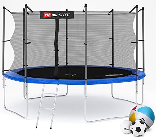 Hop-Sport Gartentrampolin 366 cm Komplettset mit Sicherheitsnetz und Leiter Innennetz