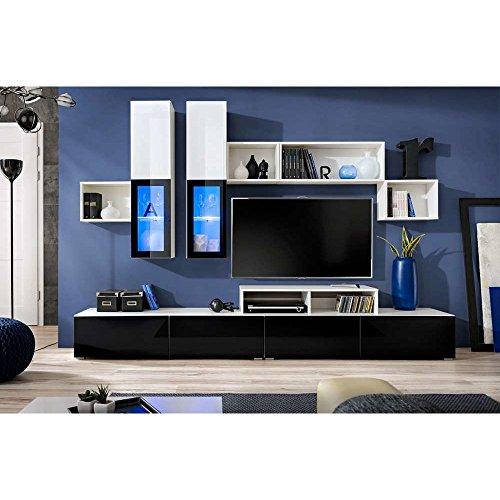 JUSThome VELVET Wohnwand Anbauwand Schrankwand (HxBxT): 180x270x45 cm Weiß Matt / Weiß Schwarz Hochglanz