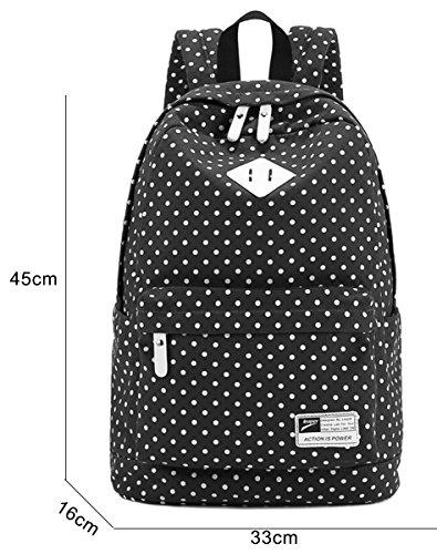 Panegy Damen Mädchen Mode Design Drucken Punkt Canvas Schulrucksack Laptop Reisen Rucksack für Outdoor Camping Picknick Außflug Sports Backpack - Schwarz Himmelblau