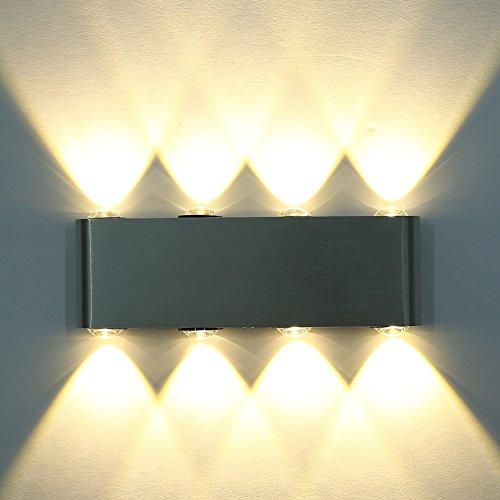 Amzdeal led Lampada da parete 8w 8 LED bianco caldo per Corridoio, soggiorno, ecc