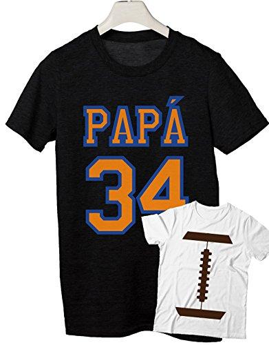 combo t-shirt da uomo e tshirt da bambino e neonato festa del papà- Papà n°34 - bambino palla football- tutte le taglie uomo donna maglietta by tshirteria Nero