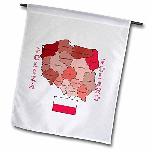 3drose FL _ 184176_ 1Flagge und Karte von Polen, Provinzen farbigen und benannten Garten Flagge, 12von 18 (Benutzerdefinierte Geschenk-karte)