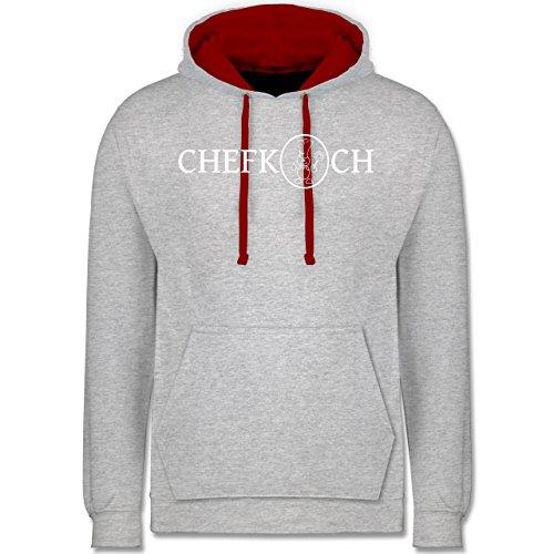 Küche - Chefkoch - Kontrast Hoodie Grau Meliert/Rot