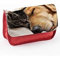 Animali 10032, Cane e Gatto, Rosso Scuola Bambini Sublimazione di alta qualità Polyester Astuccio Matita Caso con Design Colorato.21x12