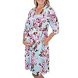 BriskyM Schwangere Frauen 3/4 Ärmel mit Blumenmuster Nachthemd Schlafkleid Mutterschaft Bademantel (Blau, L)