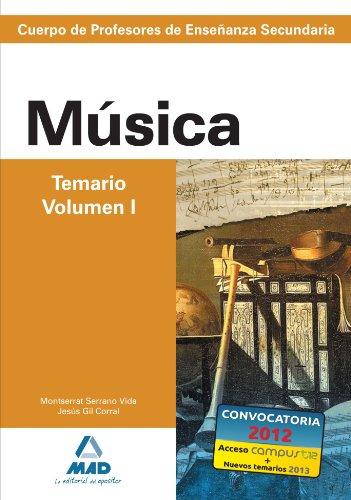 Cuerpo de profesores de enseñanza secundaria. Música. Temario. Volumen i (Profesores Eso - Fp 2012) - 9788466580212