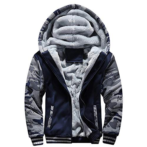 Riou Herren Strickjacke Cardigan Beiläufige DünneStrickpullover mit Kapuze Kapuzenpullover Pullover Männer Hoodie Winter warme Fleece Zipper Sweater Jacke Outwear Mantel (4XL, Blau B) - Schwarz-lammfell-leder-jacke