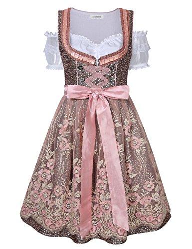 Clearlove Dirndl 3 tlg.Damen Midi Trachtenkleid für Oktoberfest- Spitzen Kleid, Bluse & Schürze, Rosa Spitzen, 38 - Meine Rosa Schürze