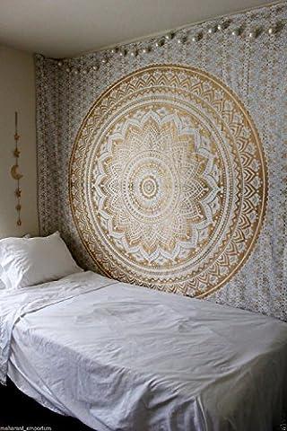 Indian-hippie-tie-dye Ombre-mandala Wall-art Golden-twin-size-tapestry Décoration murale à suspendre - Sun Moon Tie