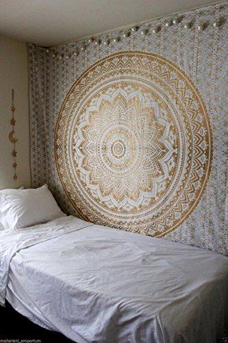 indian-hippie-tie-dye ombre-mandala wall-art golden-twin-size-tapestry Wand aufhängen (Tie Baumwolle Neue Dye)