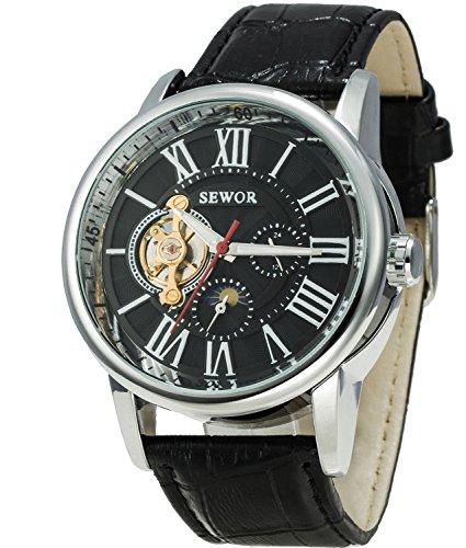 Sewor Luxury Tourbillon Mens Moon Phase Big Size Automatic Mechanical Wrist Watch Leather Band (Black)