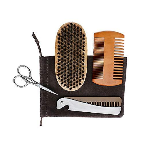 Bart Grooming Kit Mustache Pruning Toolkit Für Männer Moustache Shaping Tool Hölzerne Kamm Schere Und Gesichtshaar Bürste Perfektes ()