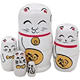 Set Of 5 Cute White Fortune Lucky Cat Handmade Wooden Russian Nesting Dolls Matryoshka Dolls For Kids Toy Birthday Gift Christmas Home Decoration