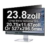 Xianan 23,8 Zoll Displayfilter Blendschutz Anti-Peeping Sichtschutzfilter 20,75x11,67zoll/527x296,5mm 16:9 Strahlenschutz Computer Screen Displayschutz