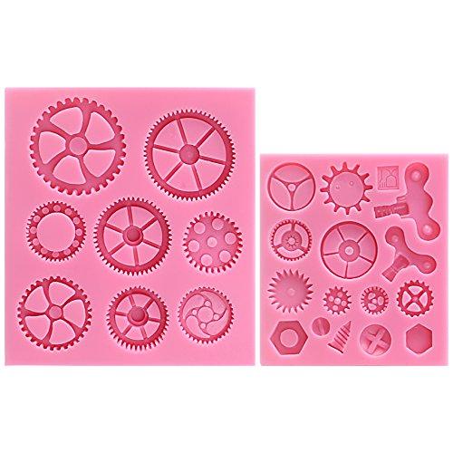 musykrafties Steampunk Stil Uhr Uhr Rad Zahnräder Durchgang Candy Silikonform für Sugarcraft,Kuchen Dekoration,Cupcake Deckel,Fondant,Schmuckschachteln,Polymer tonboden,Basteln Projekte,2 im Set