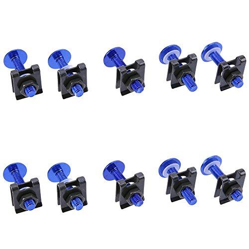 vanpower 10 pcs 6 mm Moto Carénage Bolt Spire Speed Clip Vis Écrous à ressort (Bleu)