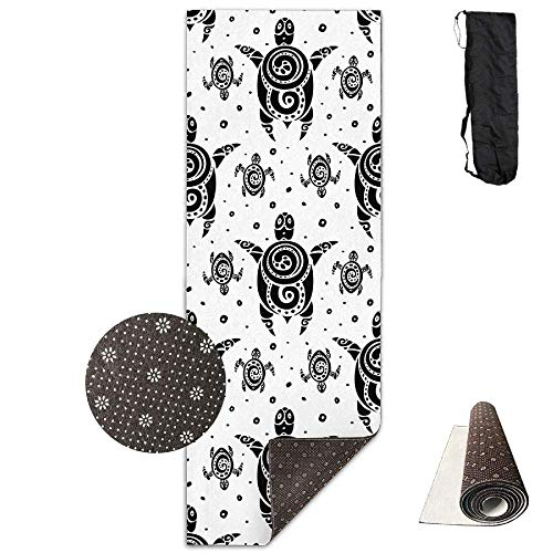FGRYGF Yoga Mat Wide Multi-Purpose Exercise Mat Anti Slip Mat Comfort Fitness Sea Turtles Tattoo Polynesian Tribal Pattern Yoga Mat Towel