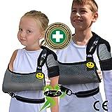 Maintien du bras écharpe épaule pour l'enfant (taille unique 3-10 ans) 'Confort suprême de luxe' Conception unique pour la prévention de la douleur au cou lors du port d'un bras. Unisexe. (gris/noir)