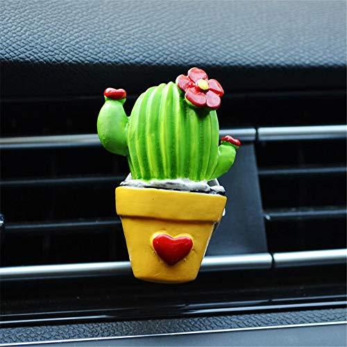 SIOJB 3D Carino Cactus conservato in Vaso Mantenere Gli umori soleggiati Presa Auto Profumo Uinque Design Ornamento Auto Deodorante Clip Accessori Auto, Blu Pavo