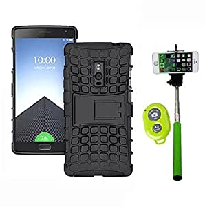 Hard Dual Tough Military Grade Defender Series Bumper back case with Flip Kick Stand for ONE-PLUS 1+2 + Wireless Bluetooth Remote Selfie Stick for all Smart phones by carla store.
