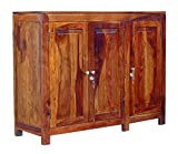TimberTaste Albert Solid Wood Sideboard (Natural Teak Finish)