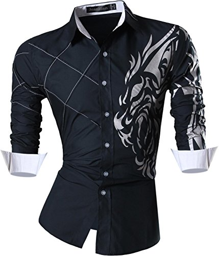 Jeansian uomo camicie maniche lunghe moda men shirts slim fit causal long sleves fashion z030 navy xxl