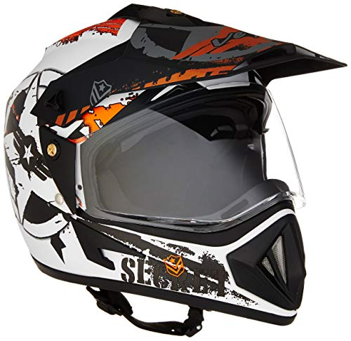 Vega Off Road D/V Secret Full Face Helmet (Dull White and Black, Medium)