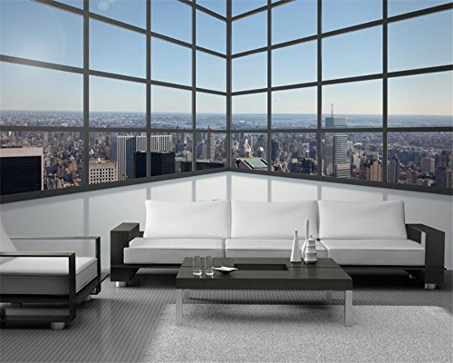 Wallpaper Foto 3D Stereo Balcone Piano Windows City High House Murale Tv Sfondo Muro 3D Carta Da Parati Murale (W)140X(H)100Cm