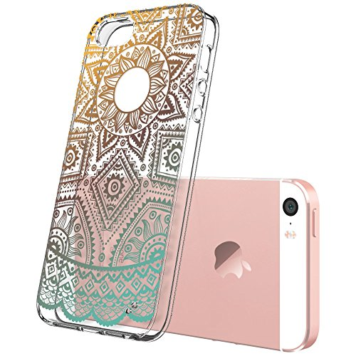 iPhone 5 Cover Silicone, Resistente ai graffi Protettivo iPhone 5s Case Cover per iPhone 5SE modello stampato Personalit della moda iphone 5/5s-Totem Series_Gold Henna