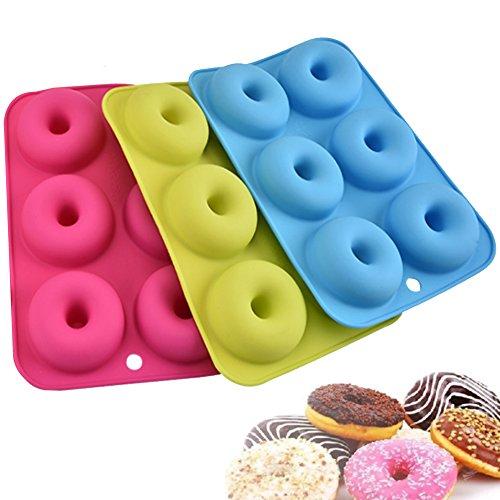 Silikon (3 Stück) Donut Formen, Masstimo 6 Mulden Antihaft-Backblech Maker Pfanne Hitze Widerstand für Kuchen Biscuit Bagels muffins-blue, Rosa und Grün