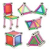 Skitic 50 Pezzi Grandi Blocchi Costruzioni Magnetici 3D gioco DIY Blocchi Magnetici Modelli Design Magnetico Giocattoli Educativi Kit Accatastamento Aggiornati per I Bambini