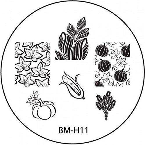 Stamping de plantilla # BM de H11° Otoño, arce, hojas, maíz, grano, calabaza °