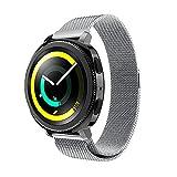 Yikamosi Ersatz-Armband für Samsung Gear Sport-Uhr, vollständig magnetischer Verschluss, Netzschlaufe, Milanaise-Edelstahl, Ersatzarmband für Samsung Gear Sport-Armbanduhr