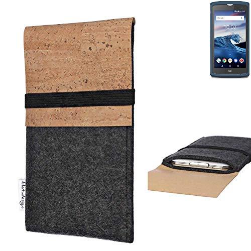 flat.design Handy Hülle SAGRES für Crosscall Core-X3 Made in Germany Handytasche Filz Tasche Schutz Case fair Kork