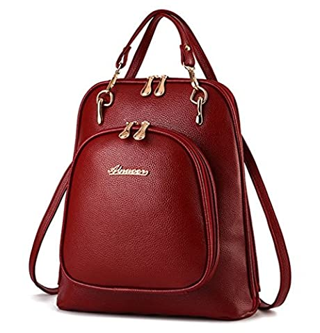 YAAGLE PU Leather Casual Backpack Shoulder Bag Travel Rucksack Bag for Women Girls