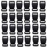 HONGCI 30PCS seitliche Freigabe-Plastikmini Schnallen - großes Zubehör für Chidren Paracord Armbänder (15mm(5/8') Inch,Black)