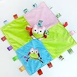 INCHANT Taggies Sicherheit Blanket - Soft Taggy Blankit Spielzeug für Baby-Boys & Girls - Lovey Plüsch Sinnes Spielzeug Beruhigt und bietet Sicherheit für Kleinkinder, Eule