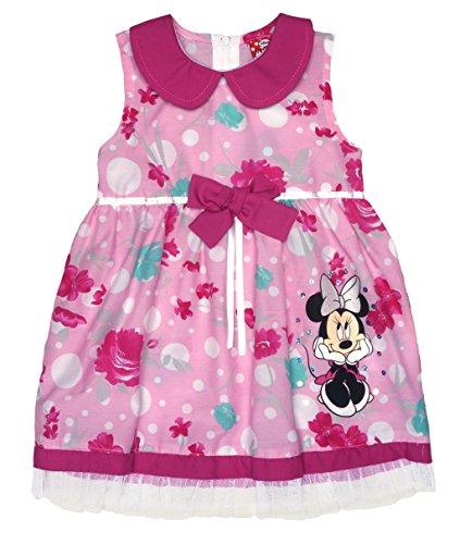 Disney Baby Mädchen Minnie Mouse FEST-Kleid Tüll-Rock Sommerkleid mit Bubikragen in Gr 74 80 86 92 98 104 110 116 122, Baumwolle Bluemnmädchen Outfit Farbe Pink, Größe 86