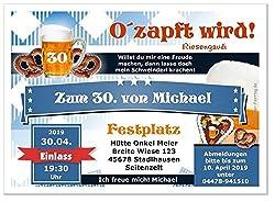 Lustige, Witzige bayrische Einladungskarten für runden Geburtstag - kostenloser Eindruck Ihres Textes, 70 Stück, Größe 17 x 12 cm