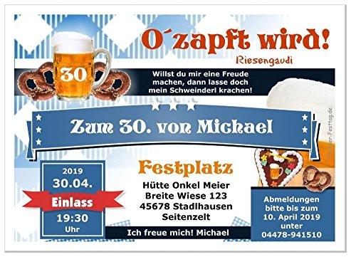 Moderne Einladungen zum Geburtstag mit Spruch - coole, lustige und witzige Karten - mit Wunschtext - 40 Karten, Größe 17 x 12 cm