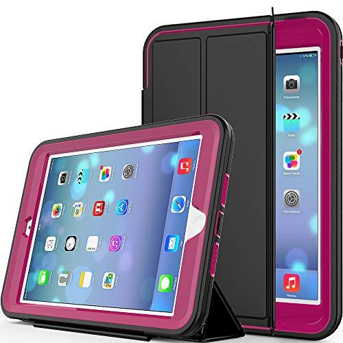 Yoomer Schutzhülle für iPad Mini, iPad Mini 2, iPad Mini 3, dreilagig, robust, mit magnetischer Auto-Sleep/Wake-up-Funktion, Standhülle für iPad Mini 1/2/3, Rose (- Auto-matte Clear)