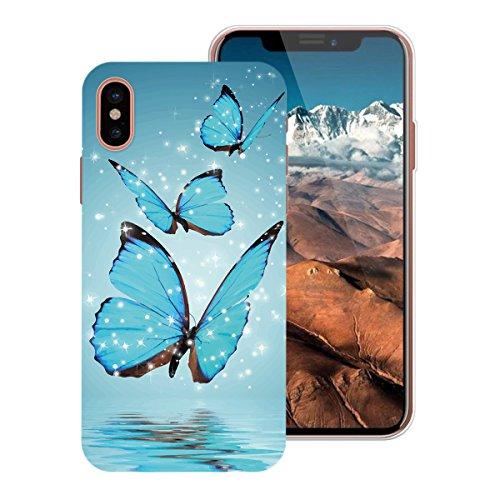 WE LOVE CASE Coque iPhone X, Ultra Fine Souple Gel Coque iPhone X Silicone Motif Coque Girly Resistante, Coque de Protection Bumper Officielle Coque Apple iPhone X Ananas Papillon Bleu