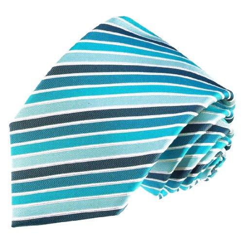 LORENZO CANA - Designer Krawatte aus 100% Seide - türkis silber grau Streifen - 84381