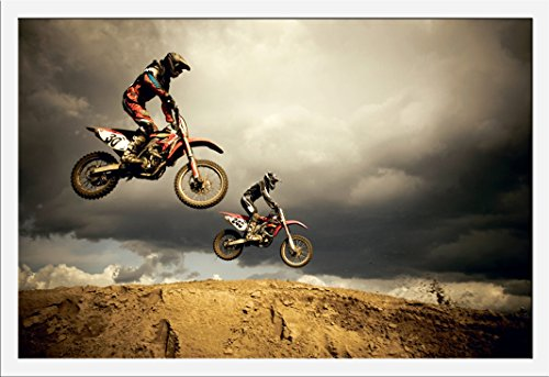Motorcycles Motocross Enduro - Big Air Jump Motorräder Poster Plakat - Grösse 61x91,5 cm + Wechselrahmen, Shinsuke® Maxi MDF Weiss, Acryl-Scheibe